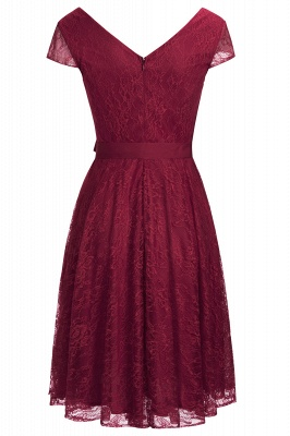 A-line Shoet Sleeves V-neck Lace Dress with Bow Sash On Sale_10