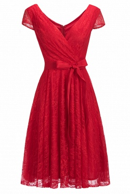 Red Lace Cap Sleeve Short Party Dress Online CPS1148