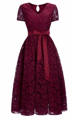 Hot Sell Burgundy Lace Short Sleeve Christmas Dress