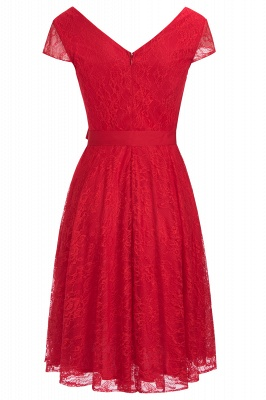 A-line Shoet Sleeves V-neck Lace Dress with Bow Sash On Sale_6