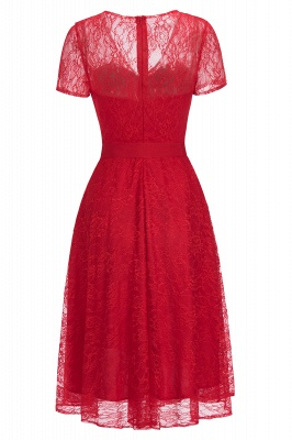 V-neck Short Sleeves Lace Dress with Bow Sash On Sale_6
