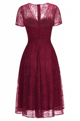 V-neck Short Sleeves Lace Dress with Bow Sash On Sale_9