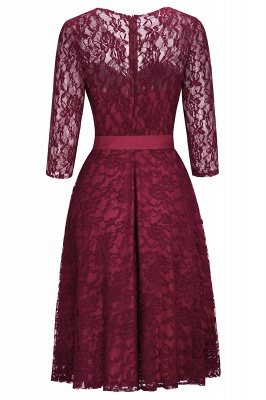 Vintage A-line Burgundy Lace Dress with Sleeves On Sale_4