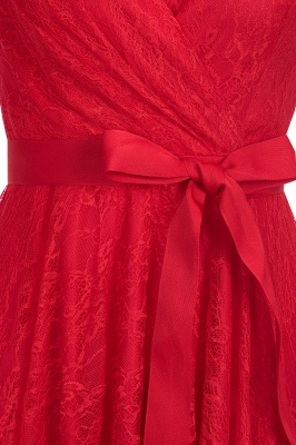 A-line Shoet Sleeves V-neck Lace Dress with Bow Sash On Sale_7