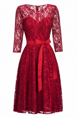 Vintage A-line Burgundy Lace Dress with Sleeves On Sale_10