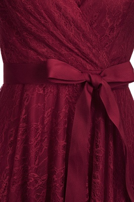 A-line Shoet Sleeves V-neck Lace Dress with Bow Sash On Sale_8