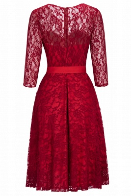 Vintage A-line Burgundy Lace Dress with Sleeves On Sale_9