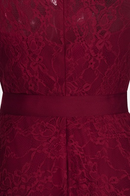 A-line Sleeveless Burgundy Lace Dress with Bow On Sale_10