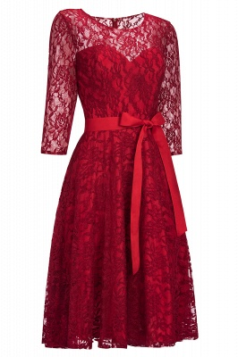 Vintage A-line Burgundy Lace Dress with Sleeves On Sale_1