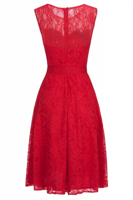 A-line Sleeveless Burgundy Lace Dress with Bow On Sale_2