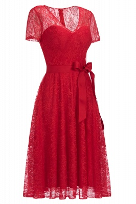 V-neck Short Sleeves Lace Dress with Bow Sash On Sale_4