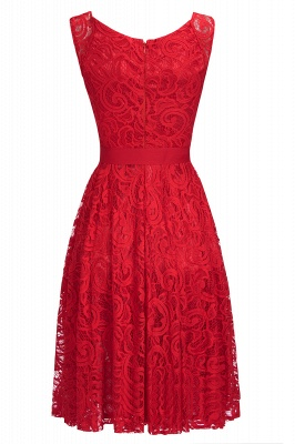 Simple Sleeveless A-line Red Lace Dress with Ribbon Bow On Sale_7