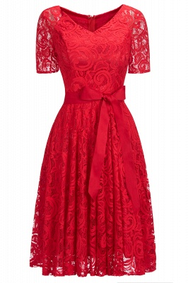 Burgundy Lace Short Sleeves Bowknot Christmas Dress CPS1146_3