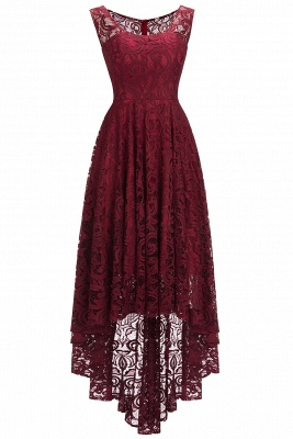 Chic Burgundy Lace Hi-Lo Christmas Party Dress CPS1150