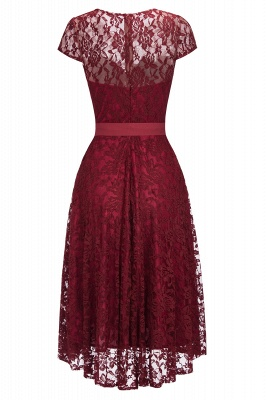 Burgundy Lace Short Sleeves A-line Dress with Bow On Sale_2