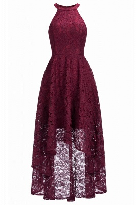 Halter Burgundy Lace Christmas Dress CPS1151_3
