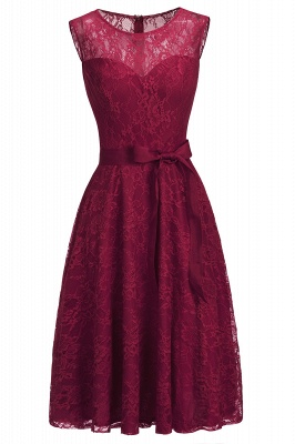 A-line Sleeveless Burgundy Lace Dress with Bow On Sale_11
