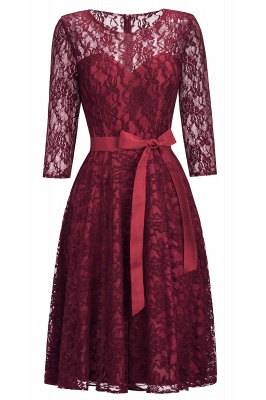 Vintage A-line Burgundy Lace Dress with Sleeves On Sale_5