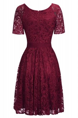 Burgundy Lace Short Sleeves Bowknot Christmas Dress CPS1146_6