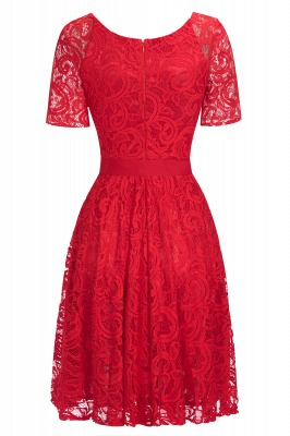 Burgundy Lace Short Sleeves Bowknot Christmas Dress CPS1146_7