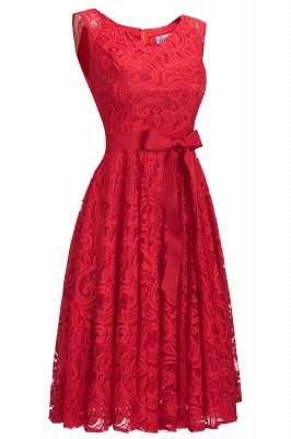 Simple Sleeveless A-line Red Lace Dress with Ribbon Bow On Sale_8