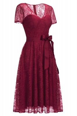 V-neck Short Sleeves Lace Dress with Bow Sash On Sale_11