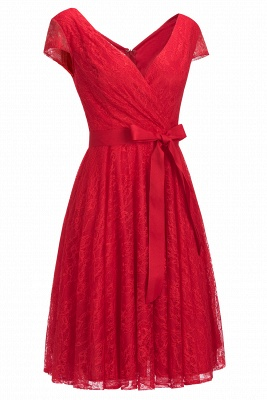 A-line Shoet Sleeves V-neck Lace Dress with Bow Sash On Sale_5