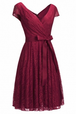 A-line Shoet Sleeves V-neck Lace Dress with Bow Sash On Sale_2