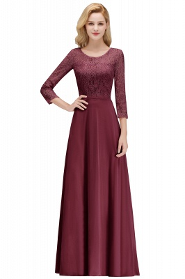 Pink Lace Long Evening Dresses with Sleeves | 2020 A-Line Scoop Bridesmaid Dresses Cheap_2