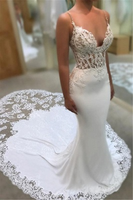 Sexy Mermaid Spaghetti Straps Wedding Dresses | 2020 Lace Open Back Bridal Gowns EN0025_1