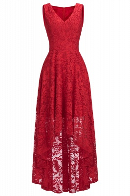 Red Lace Hi-Lo Christmas Party Dress CPS1149_4