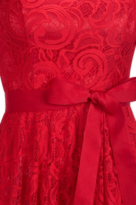Burgundy Lace Short Sleeves Bowknot Christmas Dress CPS1146_8