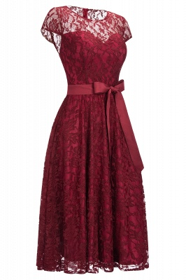 Burgundy Lace Short Sleeves A-line Dress with Bow On Sale_3