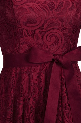 Burgundy Lace Short Sleeves Bowknot Christmas Dress CPS1146_5