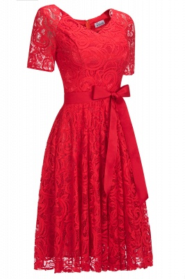Burgundy Lace Short Sleeves Bowknot Christmas Dress CPS1146_4