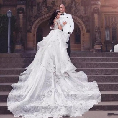 Glamorous Long Sleeves Tulle High Neck 2020 Bride Dresses Appliques Wedding Dresses with Detachable Overskirt qq0375_4