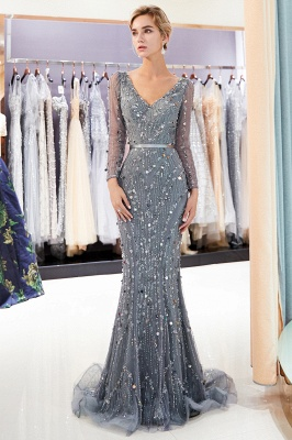 Gray V-Neck Mermaid Evening Dresses with Long Sleeves | Sexy Mermaid Prom Dresses 2020_1