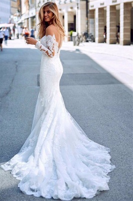 Elegant White Long Sleeves Lace Appliques Prom Dresses | Mermaid Sweep Train 2020 Bridal Gown_3