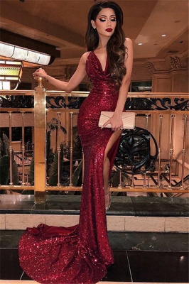 Sexy V-Neck Sleeveless Mermaid Prom Dresses | Sequins Front Split Sweep Train Evening Gown