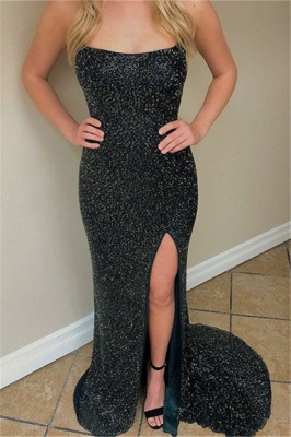 Charming Front Slit Sequins Strapless Prom Dresses | Sweep Train Mermaid Sleeveless Prom Gown_3