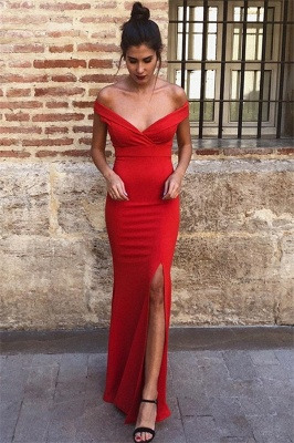 Charming Off-The-Shoulder Floor-Length Mermaid Prom Dresses   Sleeveless Front Split 2020 Evening Gown_1