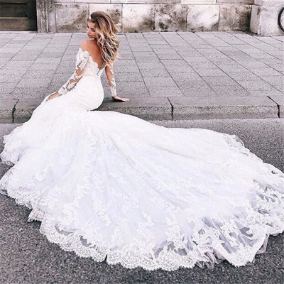 Elegant White Long Sleeves Lace Appliques Prom Dresses | Mermaid Sweep Train 2020 Bridal Gown_5