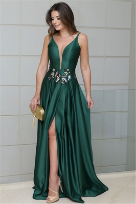 Stunning Green sleeveless Front Split Prom Dresses   Spaghetti Strap Appliques A-Line Evening Gown_1
