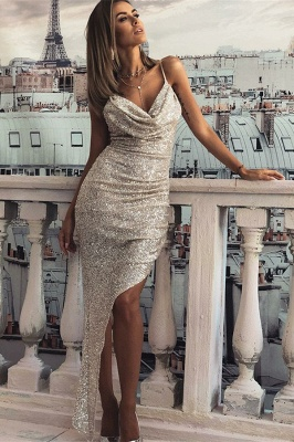 Sexy Mermaid Spaghetti Straps Long Prom Dresses | Front Split Sequins Sleeveless Evening Gown_1