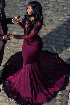 2020 Gorgeous Long Sleeves Mermaid Open Back Prom Dresses | Appliques Sweep Train Fashion Evening Gown_1