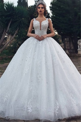 Gorgeous Straps Beading Ball Gown Wedding Dresses | 2020 Tulle Appliques Sleeveless Bridal Gown_1