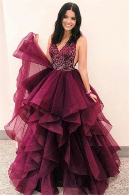 Stunning Burgundy Asymmetrical V-Neck Sleeveless Prom Dresses | A-Line Appliques Floor-Length Evening Gown_1