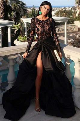 Sexy Black Crew Long Sleeves Floor-Length Prom Dresses | Front Split Lace Appliques Long Evening Gown BC0877_1