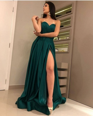 Charming Dark Green Sweetheart Sleeveless Prom Dresses | A-Line Front Split Cheap Evening Gown_3