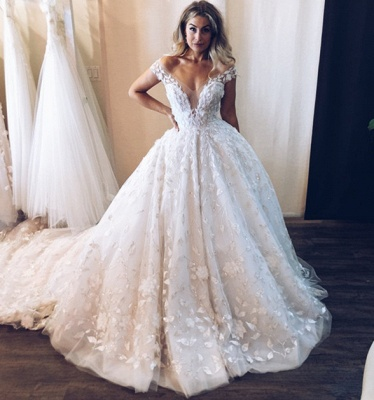 Gorgeous OFF-The-Shoulder Sleeveless Long Wedding Dresses | Appliques Ball Gown 2020 Bridal Gown_3